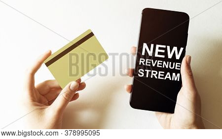 Gold Card And Phone With Text Disaster Recover Plan New Revenue Stream In The Female Hands