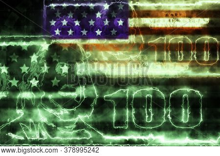 Concept Of Usa Monetary And Finance Systems. One Hundred American Dollars Banknote In Glowing Lines