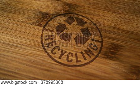 Recycling Stamp Printed On Wooden Box. Recycle Symbol, Arrows, Recyclable Materials, Environmental P