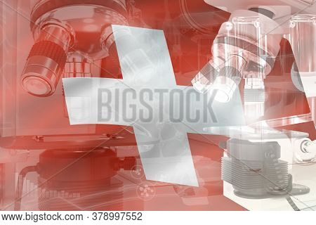 Switzerland Science Development Conceptual Background - Microscope On Flag. Research In Biotechnolog