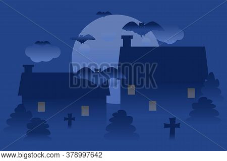 Vector Illustration Of Halloween With Bats, Moon, Cross. Postcard For Celebration. Background Illust