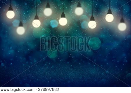 Fantastic Glossy Abstract Background Glitter Lights With Light Bulbs And Falling Snow Flakes Fly Def