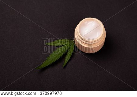 Beauty, Skin Care Cosmetics With Marijuana Extract. Rejuvenating Hand Cream With Medical Cannabis Pl