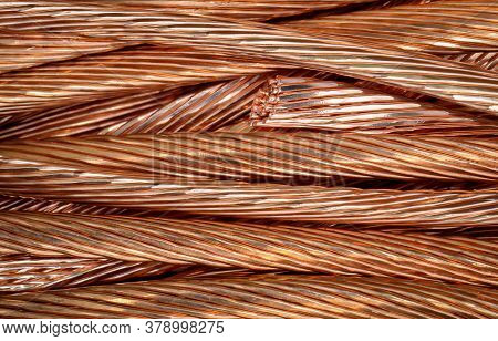 Close-up Of Peeled Copper Cables To Be Melted Down Again.