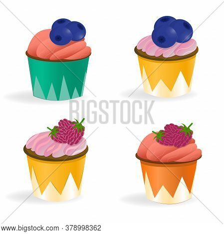 Set Of Cupcakes Isolated On A White Background. Illustration In Cartoon Style. Cupcakes With Cream,