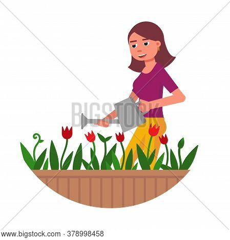 Happy Smiling Young Woman Character Watering Blooming Flowers From Can Isolated On White. Pretty Gir