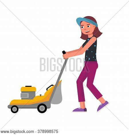 Cartoon Friendly Smiling Young Woman With Lawn Mower Isolated On White. Gardening And Landscape Desi