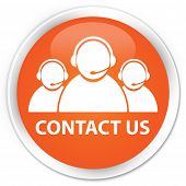 Contact us icon glossy orange round button poster