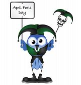 Comical April Fools Day message isolated on white background poster