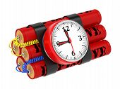 Dynamite Bomb with Clock Timer. Isolated on White. poster