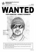 A Wanted poster with a police sketch. Town name and the man in the drawing are fictional as is all other information. The drawing was done completely from my head. poster