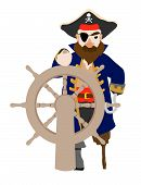 Isolated pirate holding ship wheel with peg leg and hook hand poster