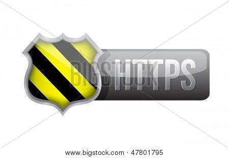Shield Https Security Over White Background.