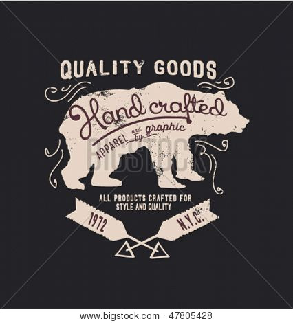 hanmade illustration vector emblem label sketch bear