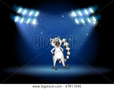 Illustration of a lemur dancing at the stage with spotlights