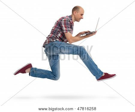 Man Running With A Laptop Isolated On White Background
