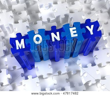 Creative 3D pieces of puzzle and word MONEY