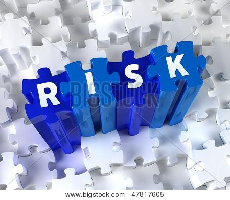 Creative 3D pieces of puzzle and word RISK