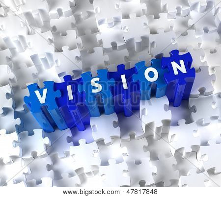Creative 3D pieces of puzzle and word Vision