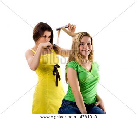 Hairdresser And Her Client