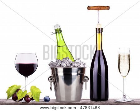 red wine and champagne with summer fruits isolated