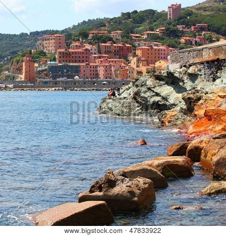 The Rio Marina medieval city on the island of Elba. Mediterranean sea, Italy, Europe.  poster