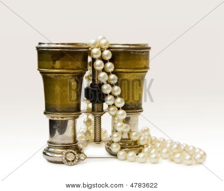 Antique Binoculars With Old Pearls With C/path