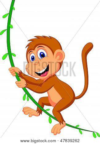 Vector illustration of Cute monkey cartoon swinging poster