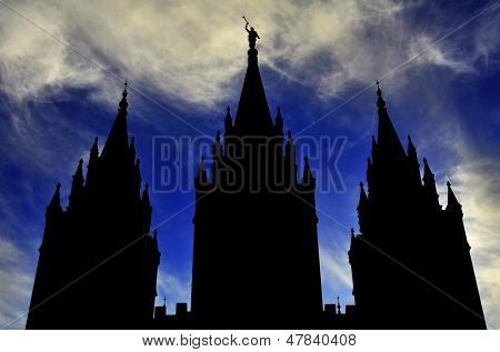 Mormon LDS Salt Lake City Temple Silhouette against Blue Cloudy Sky