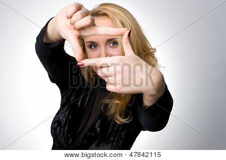 Portrait Of A Girl With Sign Of Frame