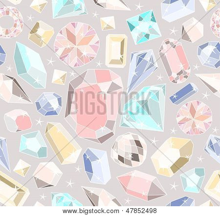 Seamless Pastel Diamonds Pattern. Background With Colorful Gemstones.