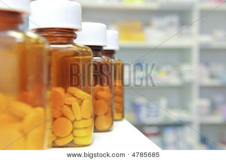 Row Of Pill Bottles
