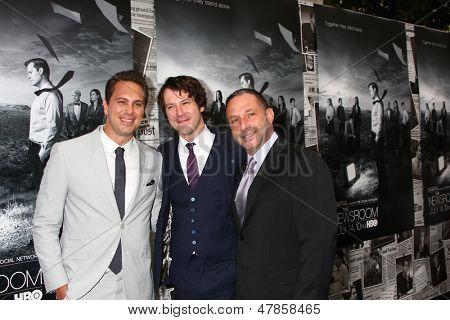LOS ANGELES - JUL 10:  Thomas Sadoski. Johnny Gallagher Jr., Alan Poul arrives at the HBO series