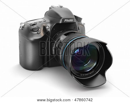 Digital photo camera on white isolated background.  3d