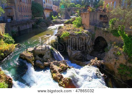 Trans-en-Provence - ancient little village with waterfall near Draguignan, Provence, France. poster