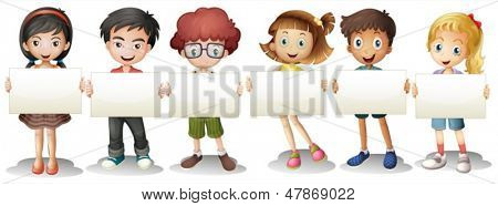 Illustration of the six kids with empty signages on a white background
