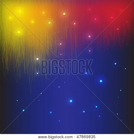 Abstract vector background red, yellow, blue with neon circles and lines poster