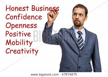 graceful entrepreneur describes the basic principles of doing business - isolated on white backgroun