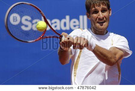 BARCELONA - APRIL, 24: Slovak tennis player Martin Klizan during a match of Barcelona tennis tournament Conde de Godo on April 24, 2013 in Barcelona