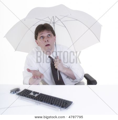 Office Worker With Umbrella