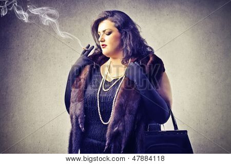 fat woman smokes