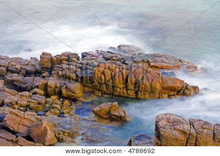 Wave Washing On Rocks At Sunrise, Noosa, Australia