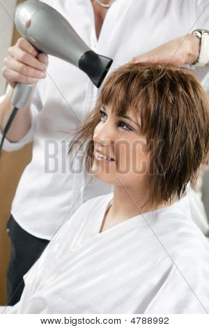 cropped view of hairstylist drying womanХs hair. Side view poster