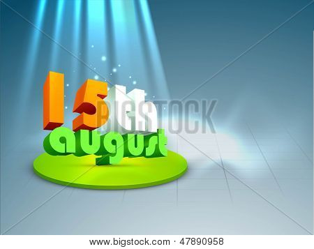 3D text 15th August in Indian tricolors on shiny blue background.