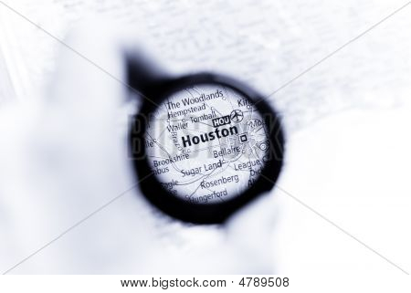 Selective focus on antique map of Houston poster