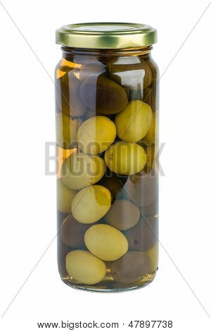 Glass jar with green and black olives