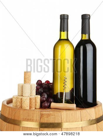 Wine and corks on barrel isolated on white poster