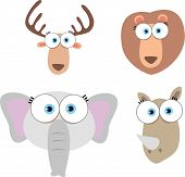 Cartoon Illustration of Animal Face with big eye poster
