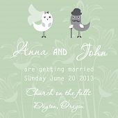 Wedding invitation with two cute birds in bride and groom costumes on the pastel background poster