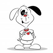 A cartoon dog in a white I love heart t-shirt with copy space poster
